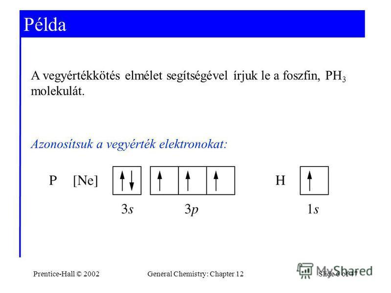 Prentice-Hall © 2002General Chemistry: Chapter 12Slide 6 of 47 Példa A vegyértékkötés elmélet segítségével írjuk le a foszfin, PH 3 molekulát. Azonosítsuk a vegyérték elektronokat:
