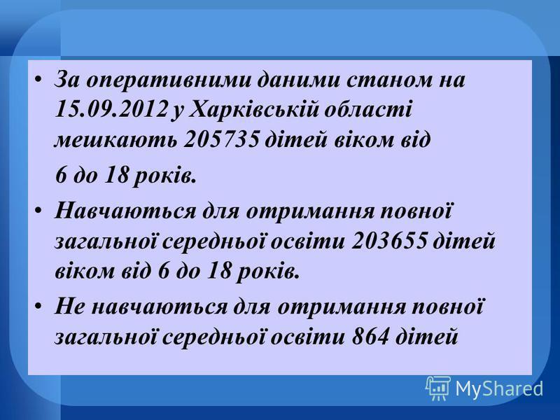 За оперативними даними станом на 15.09.2012 у Харківській області мешкають 205735 дітей віком від 6 до 18 років. Навчаються для отримання повної загальної середньої освіти 203655 дітей віком від 6 до 18 років. Не навчаються для отримання повної загал