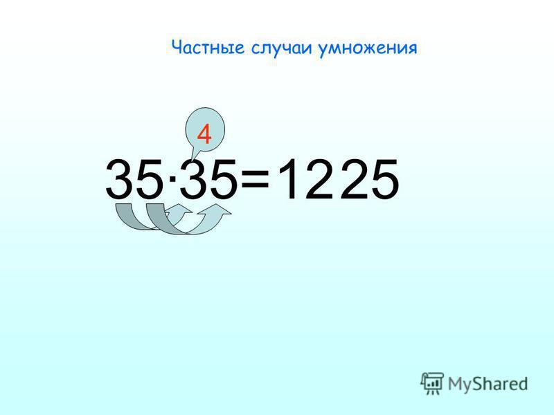 Частные случаи умножения 35·35= 12 25 4