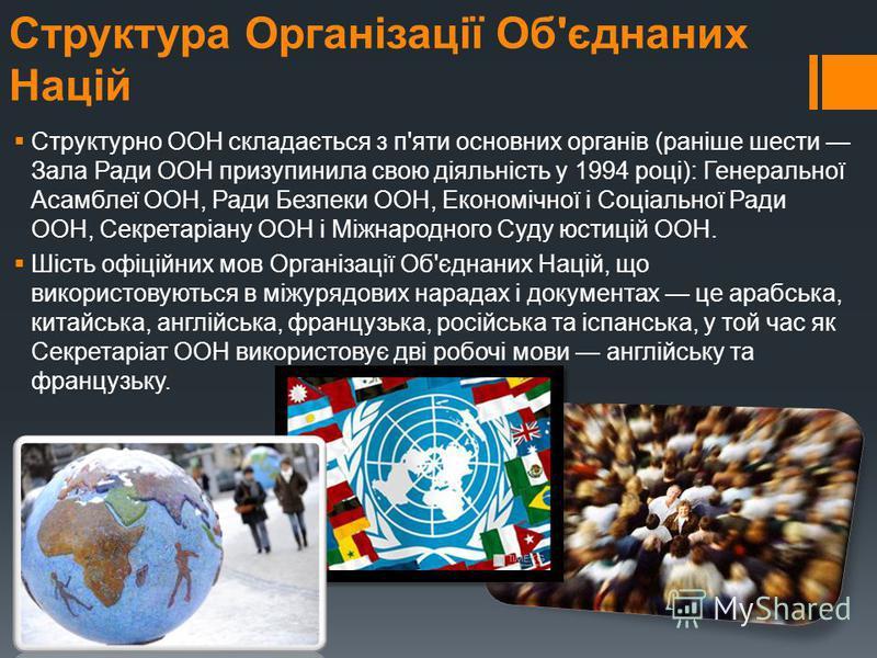 Структура Організації Об'єднаних Націй Структурно ООН складається з п'яти основних органів (раніше шести Зала Ради ООН призупинила свою діяльність у 1994 році): Генеральної Асамблеї ООН, Ради Безпеки ООН, Економічної і Соціальної Ради ООН, Секретаріа