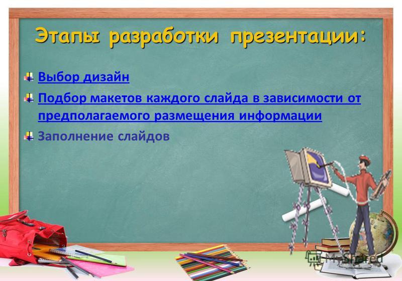 Этапы разработки презентации: Выбор дизайн Подбор макетов каждого слайда в зависимости от предполагаемого размещения информации Заполнение слайдов