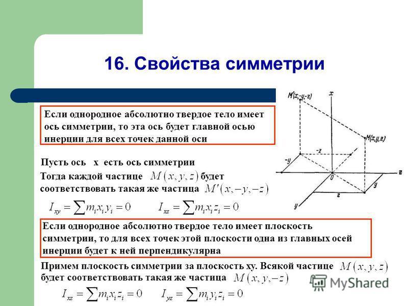 16. Свойства симметрии Пусть ось x есть ось симметрии Если однородное абсолютно твердое тело имеет ось симметрии, то эта ось будет главной осью инерции для всех точек данной оси Тогда каждой частице будет соответствовать такая же частица Eсли однород
