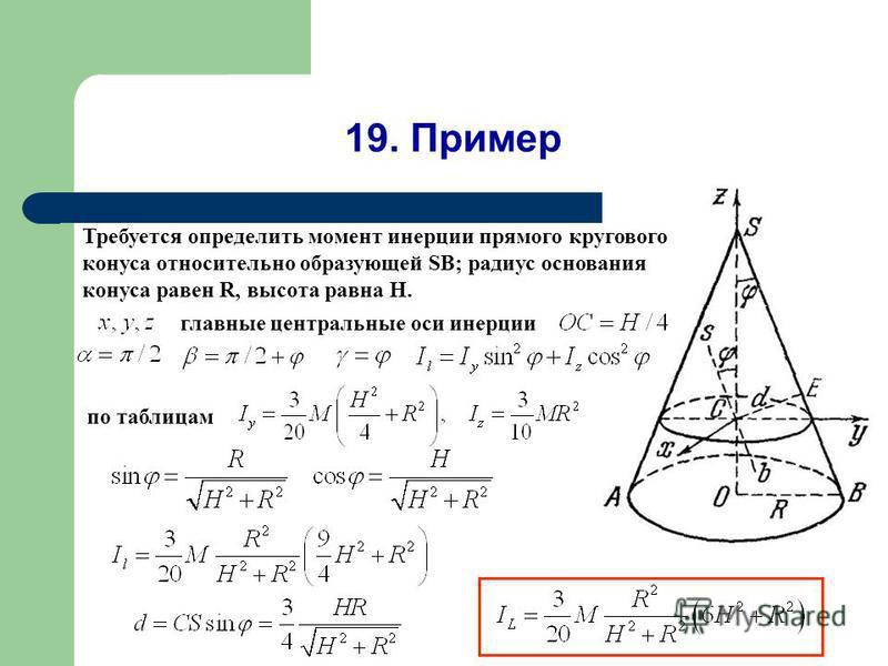 19. Пример Требуется определить момент инерции прямого кругового конуса относительно образующей SB; радиус основания конуса равен R, высота равна Н. главные центральные оси инерции по таблицам