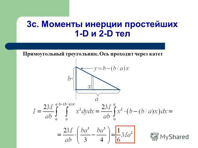 3c. Моменты инерции простейших 1-D и 2-D тел Прямоугольный треугольник. Ось проходит через катет