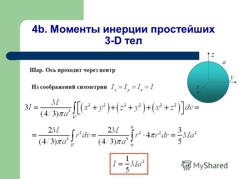 4b. Моменты инерции простейших 3-D тел Шар. Ось проходит через центр Из соображений симметрии