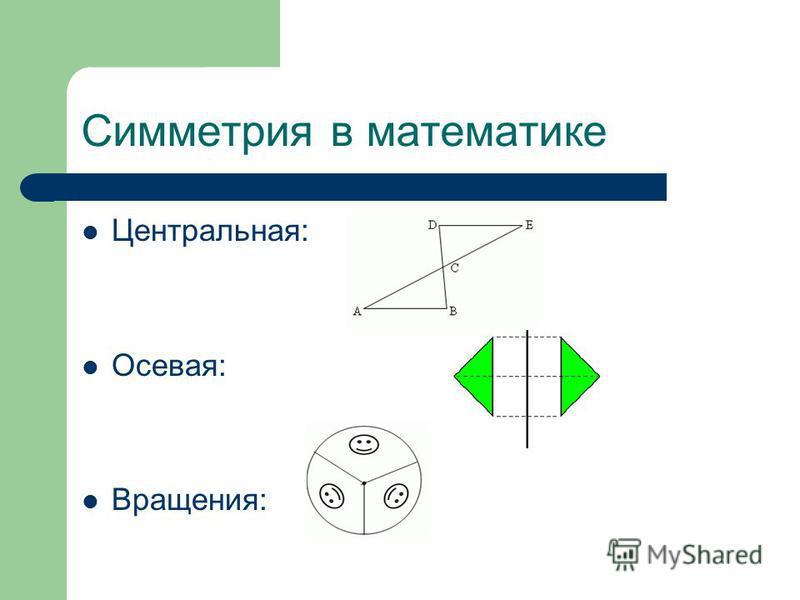 Симметрия в математике Центральная: Осевая: Вращения: