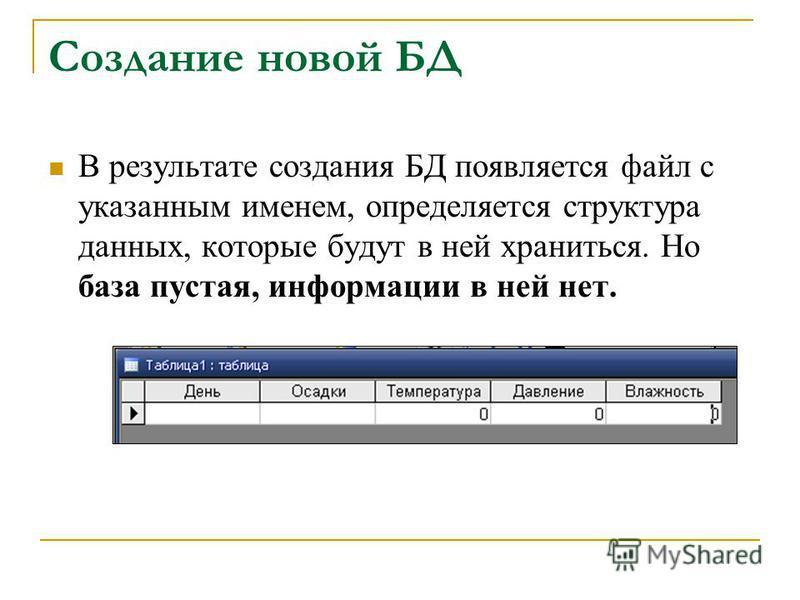Создание новой БД В результате создания БД появляется файл с указанным именем, определяется структура данных, которые будут в ней храниться. Но база пустая, информации в ней нет.