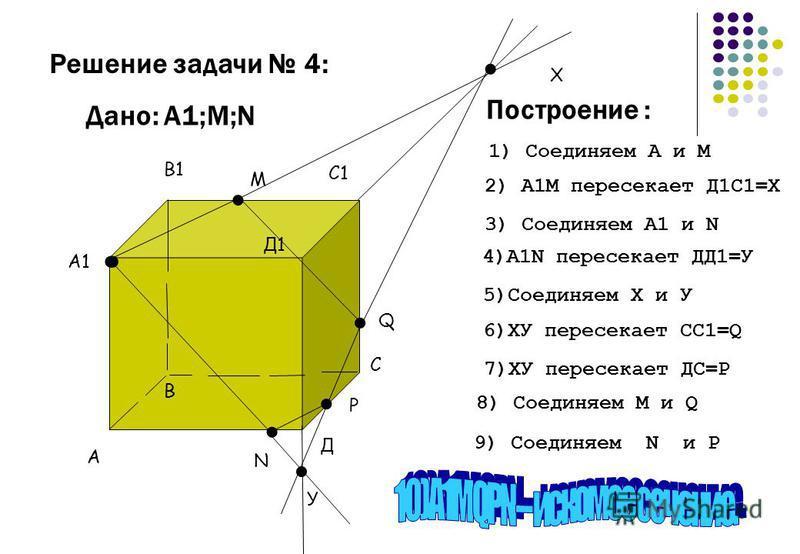 N А1... М А В1 С1 С Д В Д1 Q. Х. У. Р Дано: А1;М;N Решение задачи 4: 1) Соединяем А и М 2) А1М пересекает Д1С1=Х 3) Соединяем А1 и N 4)А1N пересекает ДД1=У 5)Соединяем Х и У 6)ХУ пересекает СС1=Q 7)ХУ пересекает ДС=Р 8) Соединяем М и Q 9) Соединяем N