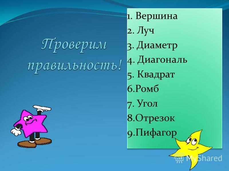1. Вершина 2. Луч 3. Диаметр 4. Диагональ 5. Квадрат 6. Ромб 7. Угол 8. Отрезок 9. Пифагор 1. Вершина 2. Луч 3. Диаметр 4. Диагональ 5. Квадрат 6. Ромб 7. Угол 8. Отрезок 9.Пифагор