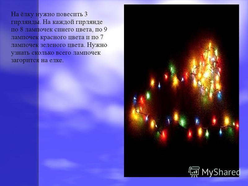 На ёлку нужно повесить 3 гирлянды. На каждой гирлянде по 8 лампочек синего цвета, по 9 лампочек красного цвета и по 7 лампочек зеленого цвета. Нужно узнать сколько всего лампочек загорится на елке.