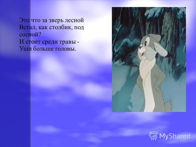 Это что за зверь лесной Встал, как столбик, под сосной? И стоит среди травы - Уши больше головы.