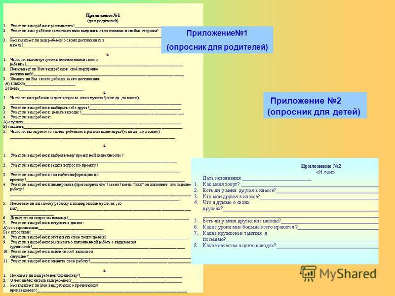 Приложение 1 (опросник для родителей) Приложение 2 (опросник для детей)
