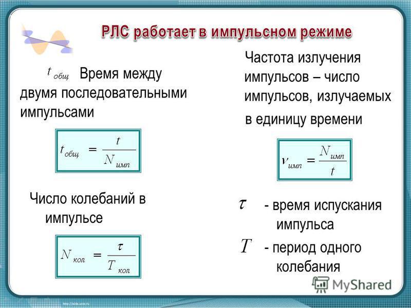 Время между двумя последовательными импульсами Частота излучения импульсов – число импульсов, излучаемых в единицу времени Число колебаний в импульсе - время испускания импульса - период одного колебания