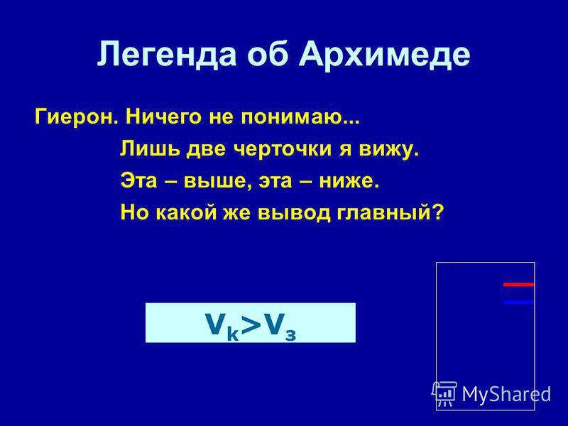 Легенда об Архимеде Гиерон. Ничего не понимаю... Лишь две черточки я вижу. Эта – выше, эта – ниже. Но какой же вывод главный? V k >V з