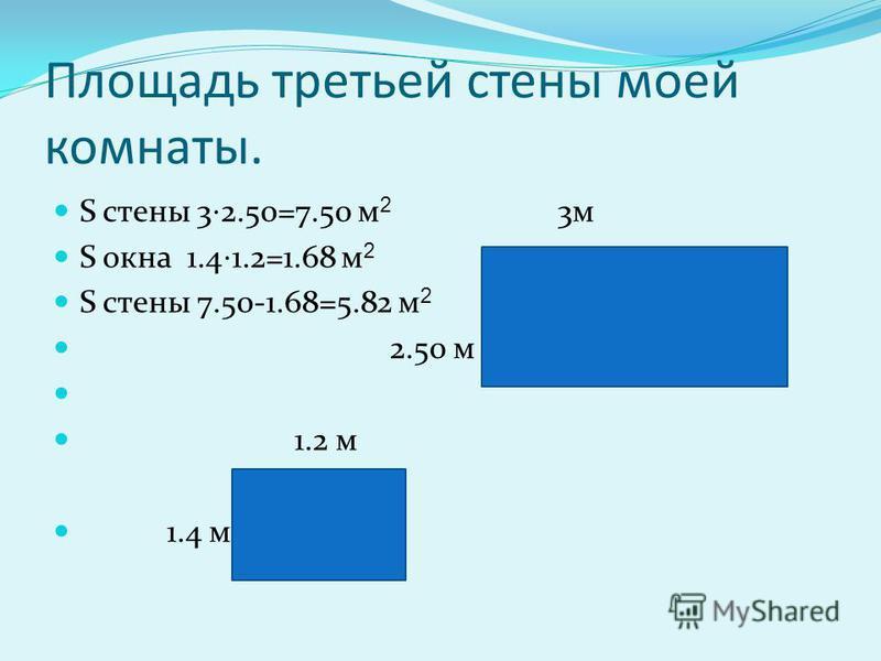 Площадь второй стены моей комнаты. S стены 42.5=10 м 2 4 м 2.5 м
