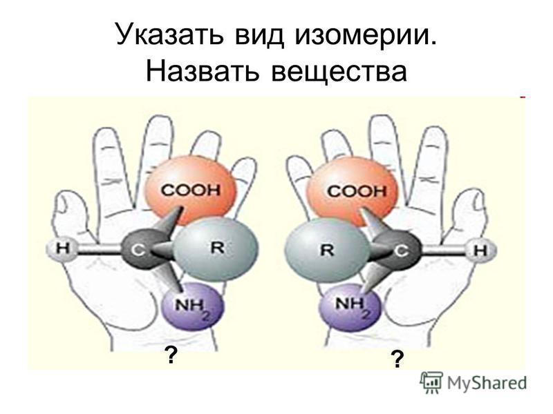 Указать вид изомерии. Назвать вещества ? ?