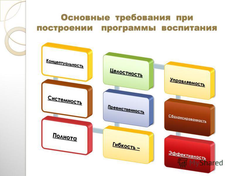 Основные требования при построении программы воспитания Основные требования при построении программы воспитания