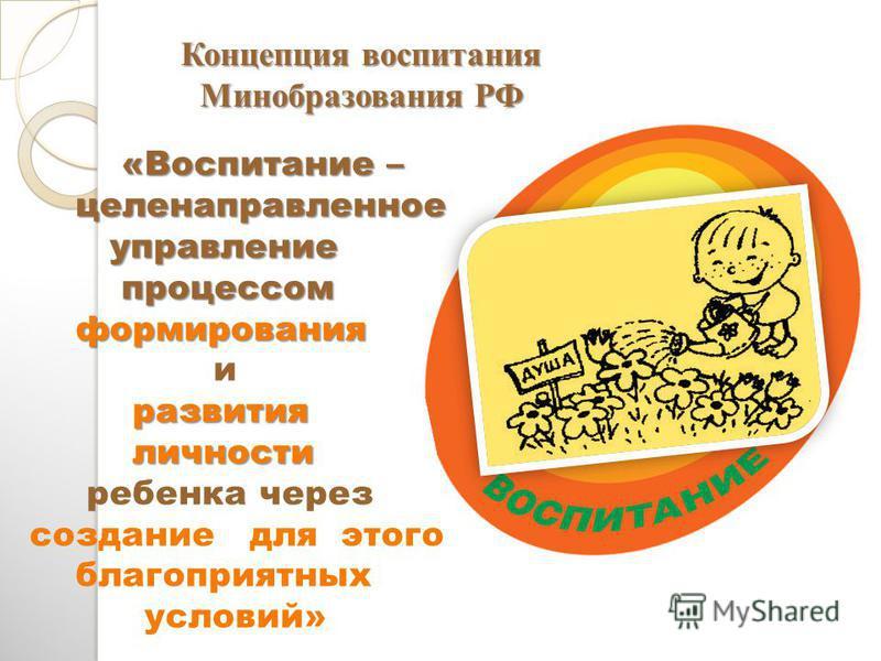 «Воспитание – «Воспитание – целенаправленное целенаправленное управление управление процессом процессом формирования формирования и развития развития личности личности ребенка через создание для этого благоприятных условий» Концепция воспитания Миноб