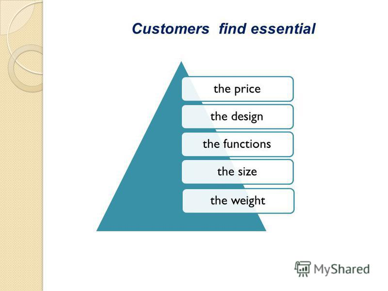 the pricethe designthe functionsthe sizethe weight Customers find essential