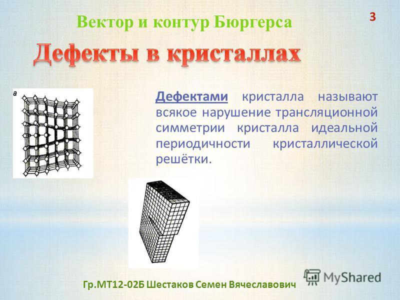 Дефектами кристалла называют всякое нарушение трансляционной симметрии кристалла идеальной периодичности кристаллической решётки. 3 Вектор и контур Бюргерса Гр.МТ12-02Б Шестаков Семен Вячеславович