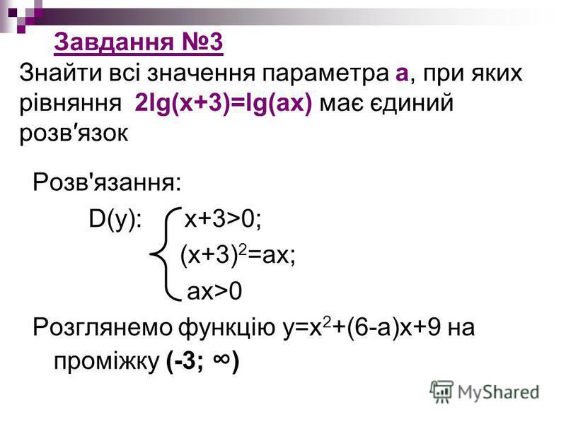 Завдання 3 Знайти всі значення параметра а, при яких рівняння 2lg(x+3)=lg(ax) має єдиний розвязок Розв'язання: D(у): x+3>0; (x+3) 2 =ax; ax>0 Розглянемо функцію y=x 2 +(6-a)x+9 на проміжку (-3; )
