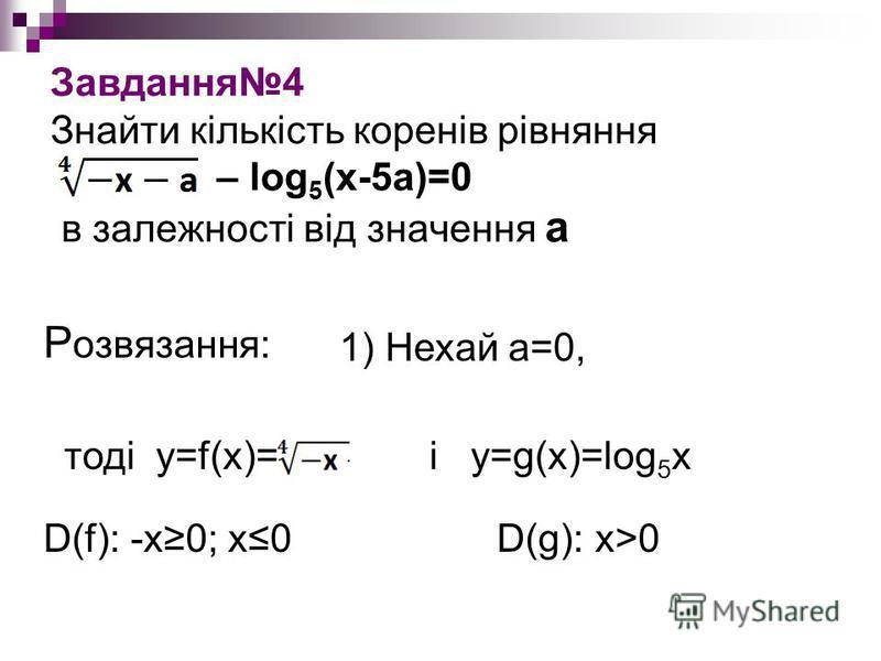 Завдання4 Знайти кількість коренів рівняння – log 5 (x-5a)=0 в залежності від значення а 1) Нехай а=0, Р озвязання: тоді y=f(х)= і y=g(x)=log 5 x D(f): -x0; x0 D(g): x>0