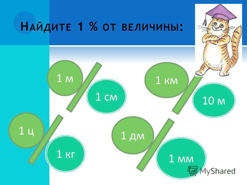 1 м 1 см 1 км 10 м 1 ц 1 кг 1 дм 1 мм Н АЙДИТЕ 1 % ОТ ВЕЛИЧИНЫ :