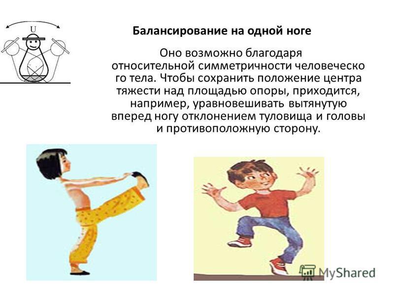 Оно возможно благодаря относительной симметричности человеческого тела. Чтобы сохранить положение центра тяжести над площадью опоры, приходится, например, уравновешивать вытянутую вперед ногу отклонением туловища и головы и противоположную сторону. Б