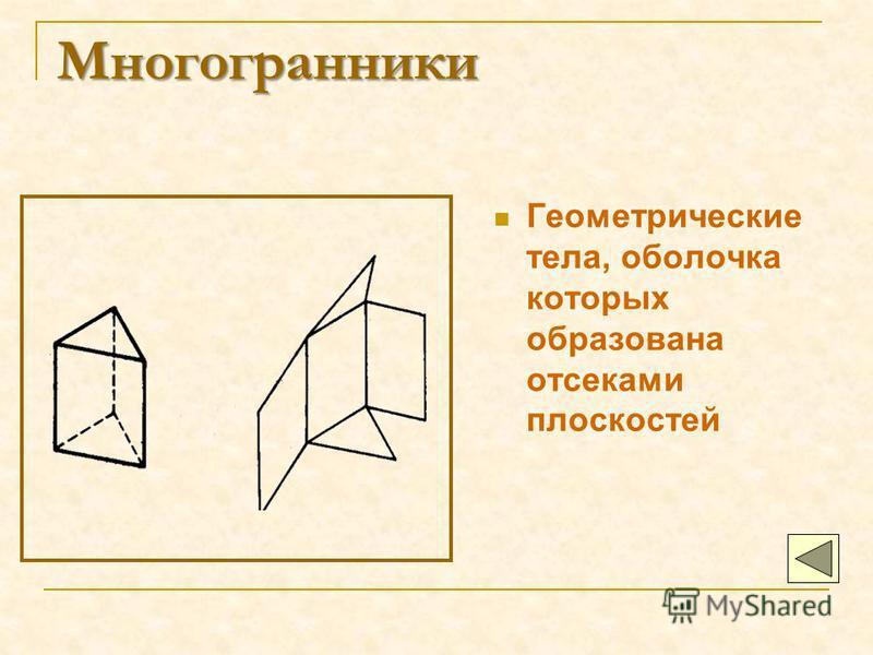 Многогранники Геометрические тела, оболочка которых образована отсеками плоскостей