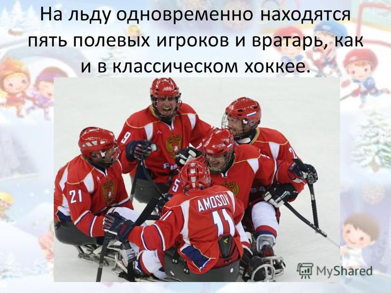На льду одновременно находятся пять полевых игроков и вратарь, как и в классическом хоккее.