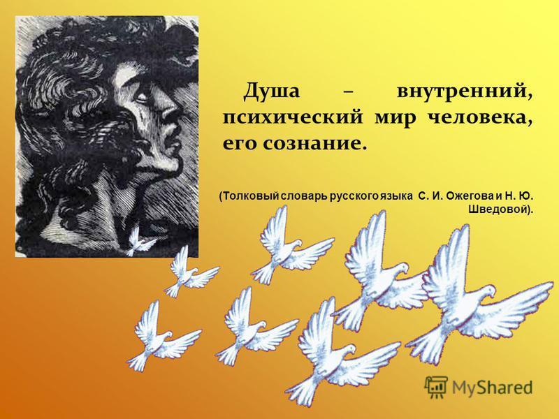 Душа – внутренний, психический мир человека, его сознание. (Толковый словарь русского языка С. И. Ожегова и Н. Ю. Шведовой).