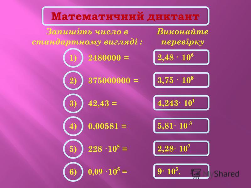 Математичний диктант Запишіть число в стандартному вигляді : 2480000 = Виконайте перевірку 2,48 · 10 6 1) 375000000 = 3,75 · 10 8 2) 42,43 = 4,243· 10 1 3) 0,00581 = 5,81· 10 -3 4) 228 ·10 5 = 2,28· 10 7 5) 0,09 ·10 5 = 9· 10 3. 6)