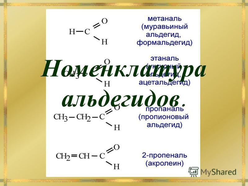 Номенклатура альдегидов.