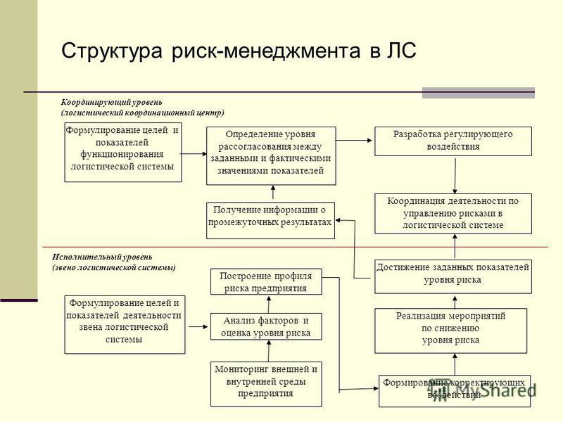 Исполнительный уровень (звено логистической системы) Координирующий уровень (логистический координационный центр) Формулирование целей и показателей деятельности звена логистической системы Достижение заданных показателей уровня риска Формирование ко