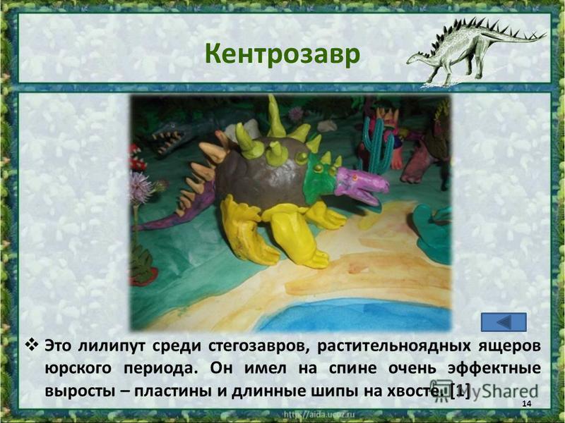 Кентрозавр Это лилипут среди стегозавров, растительноядных ящеров юрского периода. Он имел на спине очень эффектные выросты – пластины и длинные шипы на хвосте. [1] 14