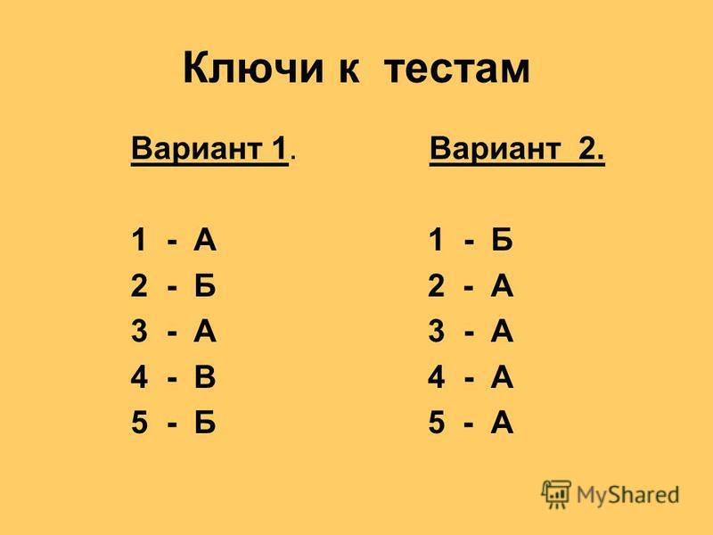 Ключи к тестам Вариант 1. Вариант 2. 1 - А 1 - Б 2 - Б 2 - А 3 - А 3 - А 4 - В 4 - А 5 - Б 5 - А
