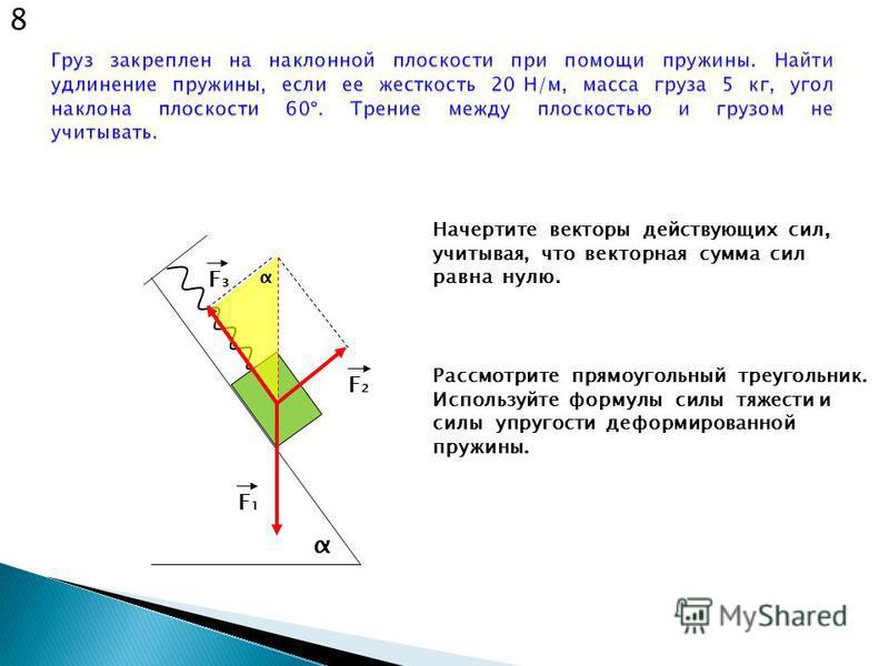 α Начертите векторы действующих сил, учитывая, что векторная сумма сил равна нулю. F1F1 F2F2 F3F3 8 Рассмотрите прямоугольный треугольник. Используйте формулы силы тяжести и силы упругости деформированной пружины. α