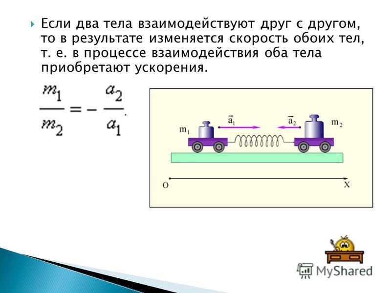 Если два тела взаимодействуют друг с другом, то в результате изменяется скорость обоих тел, т. е. в процессе взаимодействия оба тела приобретают ускорения.