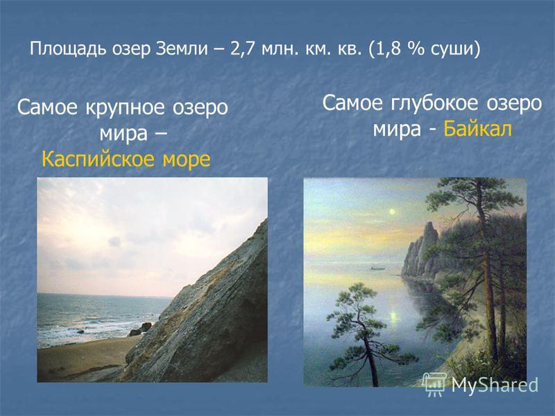 Площадь озер Земли – 2,7 млн. км. кв. (1,8 % суши) Самое крупное озеро мира – Каспийское море Самое глубокое озеро мира - Байкал