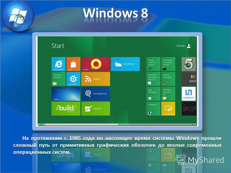 На протяжении с 1985 года по настоящее время системы Windows прошли сложный путь от примитивных графических оболочек до вполне современных операционных систем.