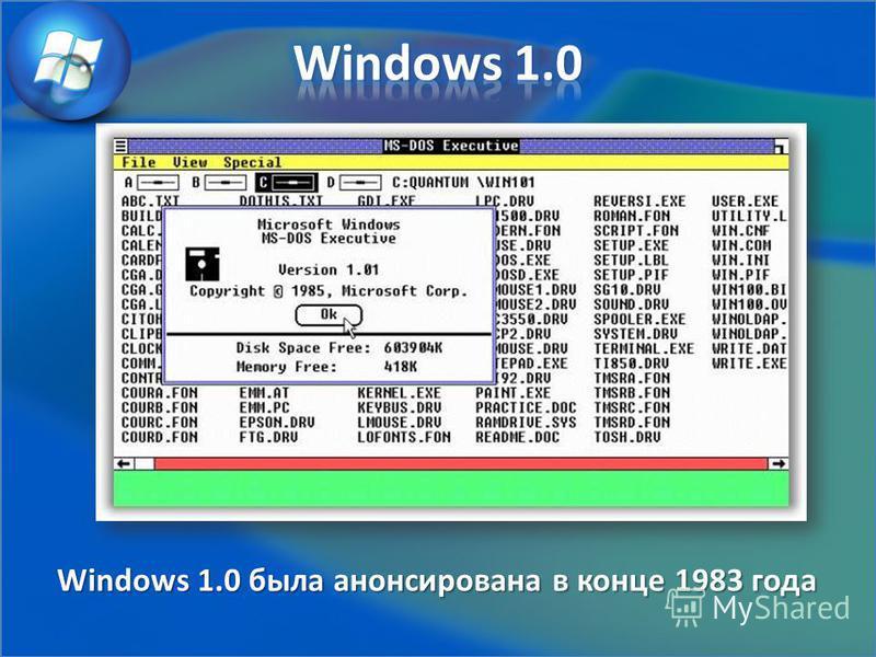 Windows 1.0 была анонсирована в конце 1983 года