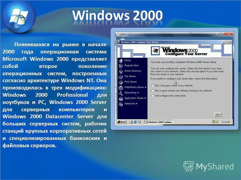 Появившаяся на рынке в начале 2000 года операционная система Microsoft Windows 2000 представляет собой второе поколение операционных систем, построенных согласно архитектуре Windows NT. Она производилась в трех модификациях: Windows 2000 Professional