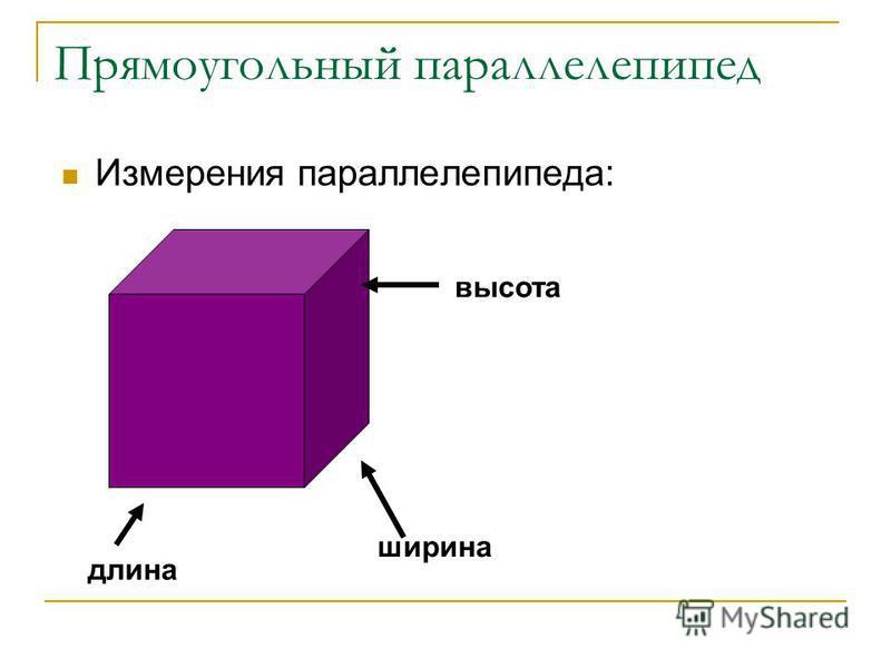 Прямоугольный параллелепипед Измерения параллелепипеда: длина ширина высота