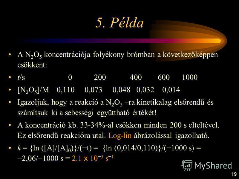19 5. Példa A N 2 O 5 koncentrációja folyékony brómban a következőképpen csökkent: t/s 0 200 400 600 1000 [N 2 O 5 ]/M 0,110 0,073 0,048 0,032 0,014 Igazoljuk, hogy a reakció a N 2 O 5 –ra kinetikalag elsőrendű és számítsuk ki a sebességi együttható