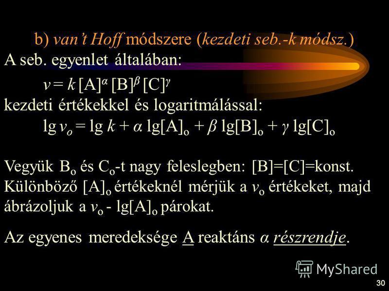 30 b) vant Hoff módszere (kezdeti seb.-k módsz.) A seb. egyenlet általában: v = k [A] α [B] β [C] γ kezdeti értékekkel és logaritmálással: lg v o = lg k + α lg[A] o + β lg[B] o + γ lg[C] o Vegyük B o és C o -t nagy feleslegben: [B]=[C]=konst. Különbö