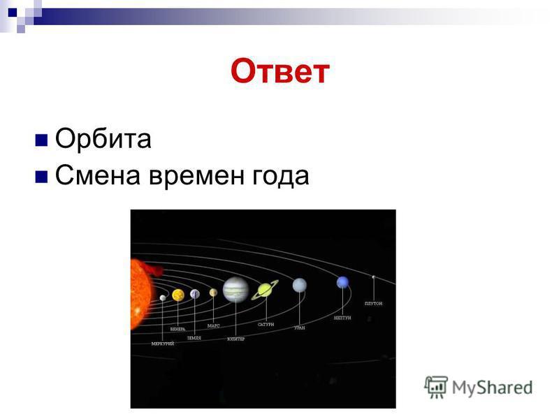 Ответ Орбита Смена времен года