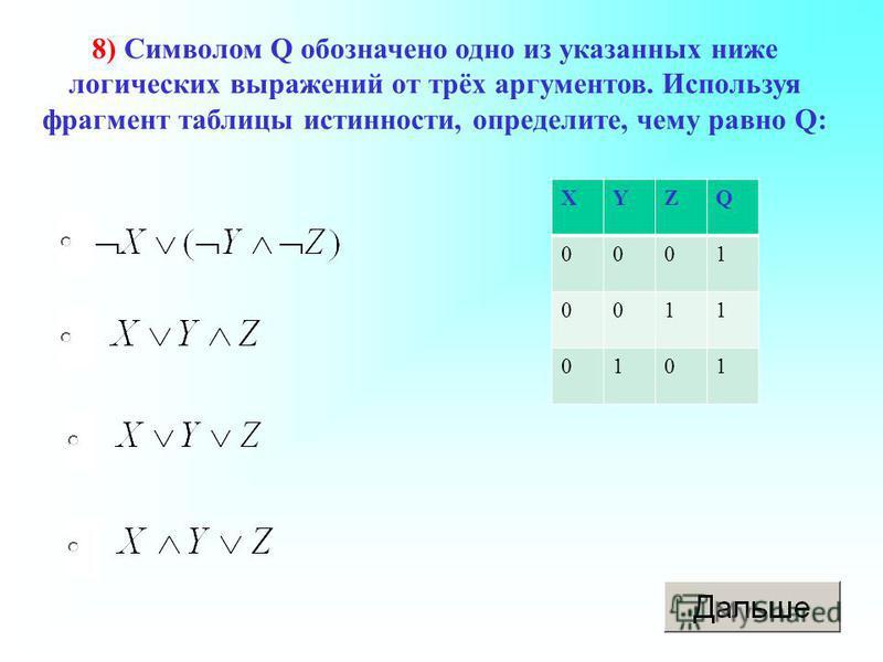 8) Символом Q обозначено одно из указанных ниже логических выражений от трёх аргументов. Используя фрагмент таблицы истинности, определите, чему равно Q: XYZQ 0001 0011 0101