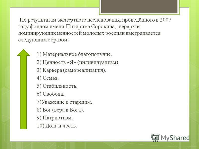 По результатам экспертного исследования, проведённого в 2007 году фондом имени Питирима Сорокина, иерархия доминирующих ценностей молодых россиян выстраивается следующим образом: 1) Материальное благополучие. 2) Ценность «Я» (индивидуализм). 3) Карье