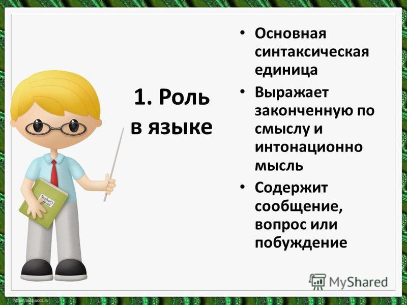 1. Роль в языке Основная синтаксическая единица Выражает законченную по смыслу и интонационно мысль Содержит сообщение, вопрос или побуждение