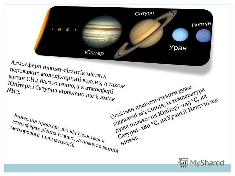 Атмосфери планет-гігантів містять переважно молекулярний водень, а також метан СН4,багато гелію, а в атмосфері Юпітера і Сатурна виявлено ще й аміак NН3. Оскільки планети-гіганти дуже віддалені від Сонця, їх температура дуже низька: на Юпітері -145 °